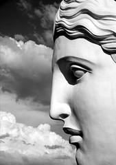 Face (Aga Dzięcioł) Tags: face sculpture sky clouds blue art białystok poland eyes nose lips white