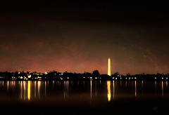 Along the Potomac (Terry Pellmar) Tags: texture digitalart digitalpainting washingtondc river skyline city sky lights reflections night