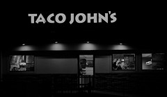 Taco Johns (Tim @ Photovisions) Tags: fastfood tacos tacojohns nebraska beatrice monochrome blackandwhite night fuji building