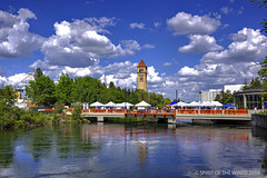 The Clock Tower & (jimgspokane) Tags: theclocktower riverfrontpark spokanewashingtonstate spokaneriver rivers parks trees bluesky clouds today´sbest