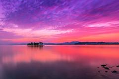 sunset 7516 (junjiaoyama) Tags: japan sunset sky light cloud weather landscape purple pink orange contrast color bright lake island water nature spring reflection calm
