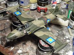 """1:72 BAC 168 """"Bushmaster"""" GA1; aircraft """"(MA13-)43"""" of the Royal Malaysian Air Force (Tentera Udara Diraja Malaysia/TUDM) 6th Squadron; Kuantan AB, Pahang/West Malaysia; 1978 (Whif/Kitbashing) - WiP (dizzyfugu) Tags: 172 bac british aircraft corporation hawker hunter strikemaster bushmaster cas attack kitbash matchbox modellbau kit model conversion fictional aviation malaysia tudm sneb"""