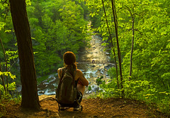 Escape (Matt Champlin) Tags: noelle life hiking adventure peace peaceful outdoors nature wild quiet calm calming women woman canon 2018 spring springtime chittenangofalls cny syracuse ny flx green lush water waterfall beautiful
