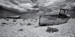 Two old Wrecks! (Solent Poster) Tags: dungeness monochrome pentax 2470mm k1 kent 2018 may wreck seascape landscape oldboats bw
