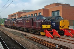 Class 37s at York PS - 31st May 2018 (allan5819 (Allan McKever)) Tags: loco locomotive class37 drs westcoastrailways york yorkshire england uk 37059 rail railway diesel engine travel transport thescarboroughspaexpress stabled trio three englishelectric tractor