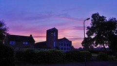 Backdrop (Sundornvic) Tags: sky sunset glow clouds trees church churches tower spire silhouette