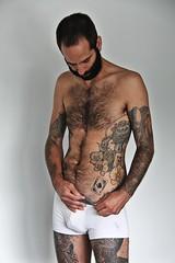 ⚤ Peter # 45 (just.Luc) Tags: man male homme hombre uomo mann tattoo tatoeage tatouage baard barbe barba bart beard hairy behaard poilu barechested torsenu chesthair borsthaar briefs shorts trunks underwear attractive handsome seminu seminude