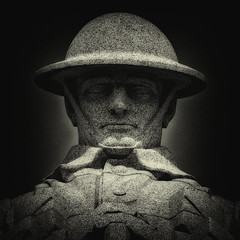 The Brooding Soldier (Eric@focus) Tags: memorial canadian flanders soldier wwi greatwar whitegranite bust monument fwclemesha canadien vancouvercorner duplexfilter nikfilters silverefexpro westfront helmet sculpture monochromegroupf64 top head column