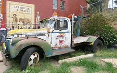 Wow! Changes Over Time (Patricia Henschen) Tags: wrecker towtruck vintage 1942 chevrolet truck tow victor colorado jet service rust aged paint advertising