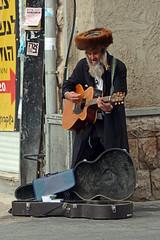 Haredi street musician (JohntheFinn) Tags: jerusalem israel people busker music jew jewish old guitar busking