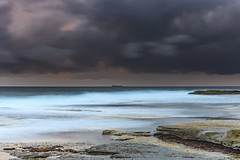 Moody Morning Seascape (Merrillie) Tags: daybreak theskillion nature water terrigal nsw rocky sea clouds newsouthwales rocks earlymorning morning landscape centralcoast ocean australia sunrise waterscape coastal outdoors sky seascape dawn coast cloudy waves