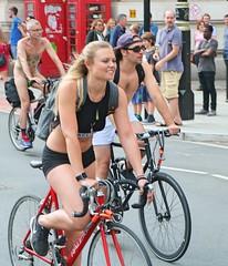 World Naked Bike Ride - London 2018 (Waterford_Man) Tags: girl bike cycle bare midriff midrift hot cyclist wheels wnbrlondon worldnakedbikeride london rayleigh