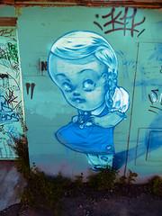 This is a Who Dun It (Steve Taylor (Photography)) Tags: pregnant uptheduff digitalart graffiti streetart tag green blue brown white teal mauve girl newzealand nz southisland canterbury christchurch cbd city kh