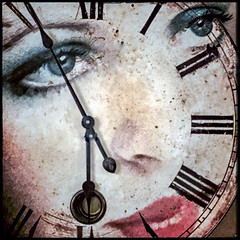 The Clock Watcher (Milly M.) Tags: snapseed clock face clockface time eyes creative creativephotography texturedwork texture