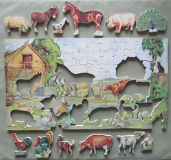 Farmyard puzzle, cut-out animals removed (pefkosmad) Tags: hobby leisure pastime jigsaw puzzle wood plywood victory wooden vintage farmyard farm yard animals complete secondhand used twelvecutoutanimals gjhaytercoltd 7361 12cutoutmodels ak1 jwspearsonsltd