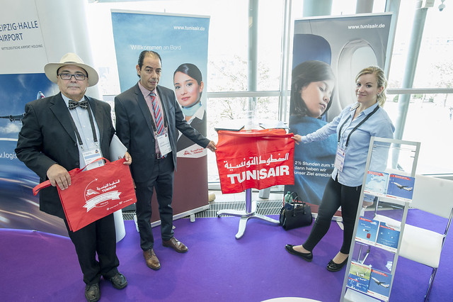 Sehl Zbiss, Chokri Wallani and Corinna Staples presenting the Tunisair stand