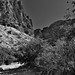 Tall Mountainsides All Around While Walking to Lower Burro Mesa (Black & White, Big Bend National Park)