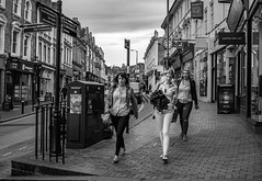 Here come the girls.... (aquanout) Tags: people town kent monochrome ladies highstreet shops buildings