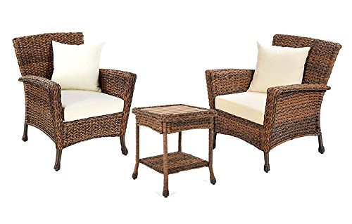 W Unlimited Rustic Collection Outdoor Furniture Light Brown Rattan Wicker Garden Patio Furniture Bistro Set, Lounger Deep Seating Sectional Cushions (3 Piece Set) For Sale