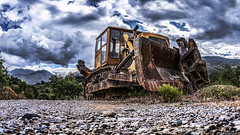 Glories Of The Past... (Constantinos_A) Tags: sony alpha a6300 outdoors machine trees grovel hill mountain plant bushes sky cloud high contrast bulldozer caterpillar jcb rethi greece peloponnese