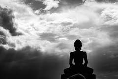 Buddha in Black and White During Storm (CanonDLee) Tags: buddhist mn minnesota religion rural spring storm temple wattmunisotaram buddha