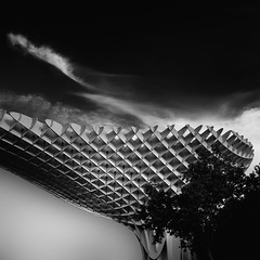 urban shapes 2 (ibo.h) Tags: architecture city sevilla metropol woodenstructure parasol bw