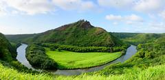 Mauna Kapu (im me) Tags: hawaii kauai maunakapu wailuariver water green grass trees sky blue clouds landscape panorama wailuariverstatepark mountain