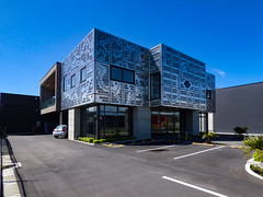 Armour Plated (Steve Taylor (Photography)) Tags: cladding art architecture design building metal newzealand nz southisland canterbury christchurch cbd city pattern sky