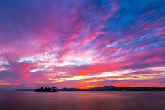 sunset 9256 (junjiaoyama) Tags: japan sunset sky light cloud weather landscape purple pink orange yellow blue contrast color bright lake island water nature summer reflection calm