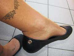 """new """"Rainbow"""" leather ballerinas and nylons, balcony shoeplay (Isabelle.Sandrine2001) Tags: 2pairofshoes shoes leather pumps ballerinas ballet flats nylons stockings tattoos legs feet shoeplay dangling"""