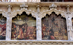 Exeter, Devon, cathedral, choir screen, north portion, detail (groenling) Tags: exeter devon england britain greatbritain gb uk cathedral screen choirscreen pulpitum stone carving stonecarving oak acorn paint painting moses red sea redsea