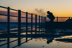 the challenge (FButzi) Tags: genova genoa liguria italy italia vernazzola sunset water blue hour sea boy