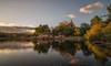 Luces y reflejos. (Amparo Hervella) Tags: embalsedelburguillo ávila españa spain paisaje nube reflejo naturaleza ermita atardecer roca largaexposición d7000 nikon nikond7000