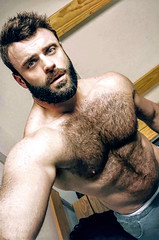 1390 (rrttrrtt555) Tags: hair arms shoulders chest muscles armpit beard selfie pants jeans underwear briefs hairy eyes stare masculine tattoo lean gym workout