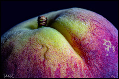 So Sweet (PhilR1000) Tags: peach fruit macro macromondays allnatural colourful furry darkbackground