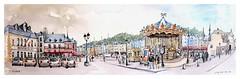 Honfleur - Normandie - France (guymoll) Tags: honfleur normandie france croquis sketch aquarelle watercolour watercolor aguarela manège carrousel port harbour panoramique panoramic