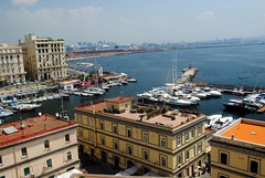 Island and harbour (zawtowers) Tags: naples napoli campania italy italia may 2018 summer holiday vacation break warm dry sunny thursday 31 castel dellovo castle seafront bay water island harbour boats moored bridge
