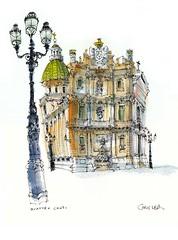 Quattro Canti, Palermo (wanstrow) Tags: palermo sicilia italy drawing architecture green