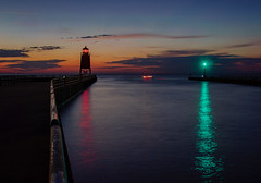 Sundown (T P Mann Photography) Tags: lighthouse lights pier river channel dusk night sundown sunset charlevoix lakemichigan