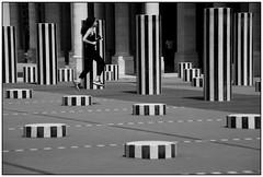 """Libre, légère . . . comme l'air.  SoS """"Black & White in colour"""" (nickylechatreux) Tags: palais monochrome place paris colonnes femme nb bw cof028 mouvements movement stripes 2dwf blackwhite sos smileonsaturday buren"""