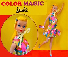 BLOOM BURSTS! (ModBarbieLover) Tags: color magic barbie vintage mod 1966 1967 blooms florals blonde doll mattel turquoise yellow pink green