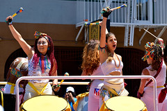 Carnaval Parade SF 115 (TheseusPhoto) Tags: colors parade costume colorsoftheworld girls women faces festival people white stick drums pose portrait streetphotography street pretty sanfrancisco marketstreet carnaval carnaval2018 carnavalsf