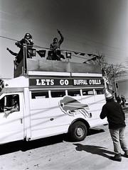 Go Bills! - Buffalo, NY (awolivet) Tags: kodak tx film blackandwhite nikon f3 bus fans pride buffalo newyork westernnewyork upstatenewyork bills cheering spirit letsgobuffalo parade southbuffalo firstward trix
