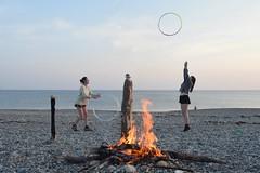 (lisakinneen3) Tags: beach bonfire fire hoops ocean sea