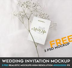 Wedding Invitation – 3 Free PSD Mockups (Mockupfree.co) Tags: mockup free product mockups card envelope flower invitation invite menu paper wedding