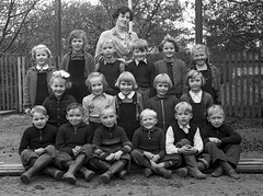 Class photo (theirhistory) Tags: children kids boy girl group class form school teacher jumper trousers wellies rubberboots fence