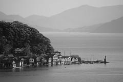 Ine Funaya (B/W) (peaceful-jp-scenery (busy)) Tags: sony α99ⅱ a99m2 ilca99m2 amount sal70300g2 70300mmf4556gssmii ine funaya boathouse kyoto 伊根の舟屋 京都 日本