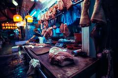 Butchery at Temple Street Night Market. (Matthias Dengler || www.snapshopped.com) Tags: hong kong china kowloon night city urban matthias dengler snapshopped moody dark evening blue hour jungle cityscape citylife butcher butchery temple street market meat gloomy