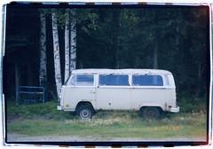 * (Robert Drozda (off-line mostly)) Tags: fairbanks alaska autumn fall birch van camper volkswagen vwveedub forest film fujicolor200 olympusstyluszoom140 bluemooncamera sloppyborderprint drozda