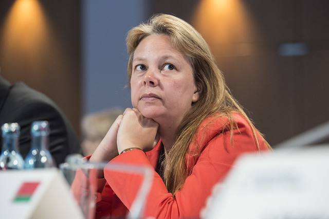 Valérie Verzele listens to the discussion at the Ministerial Session